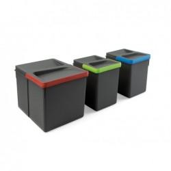 Šiukšlių dėžės pastatomos rėmeliui 1x15L+2x7L